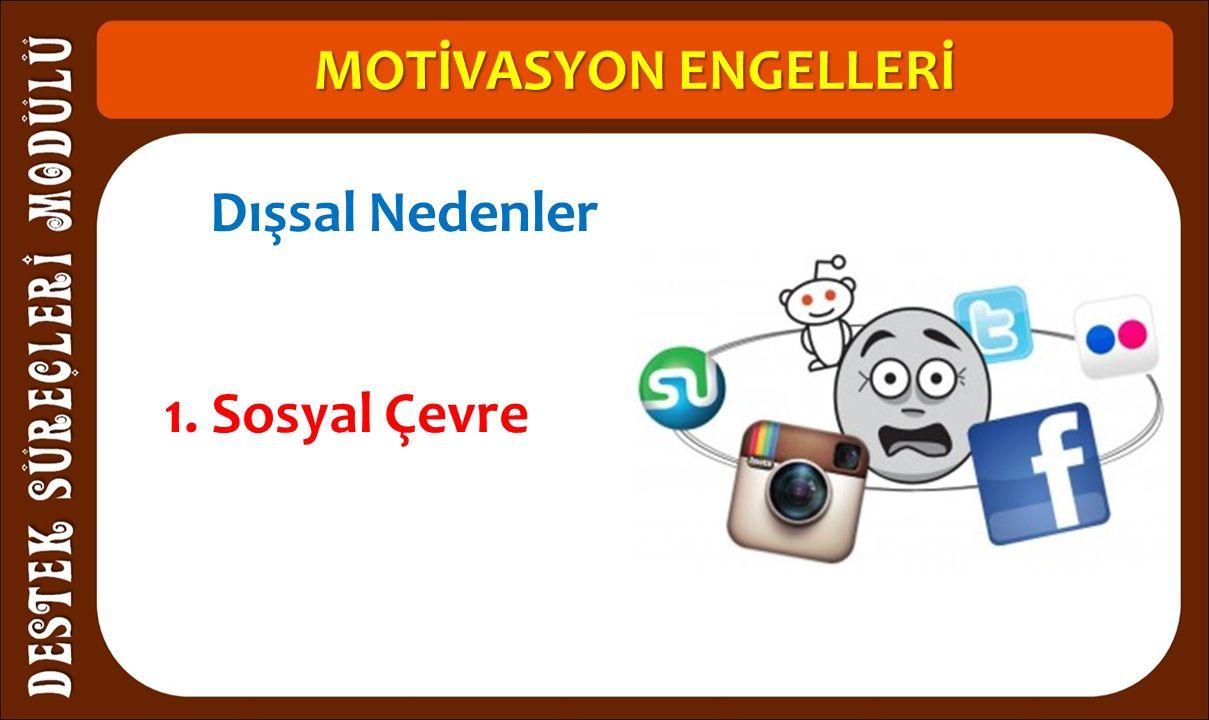MOTİVASYON ENGELLERİ 1. Sosyal Çevre Dışsal Nedenler