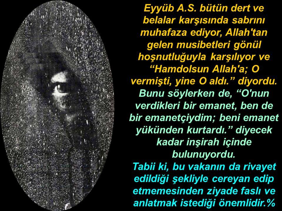 """Eyyüb A.S. bütün dert ve belalar karşısında sabrını muhafaza ediyor, Allah'tan gelen musibetleri gönül hoşnutluğuyla karşılıyor ve """"Hamdolsun Allah'a;"""