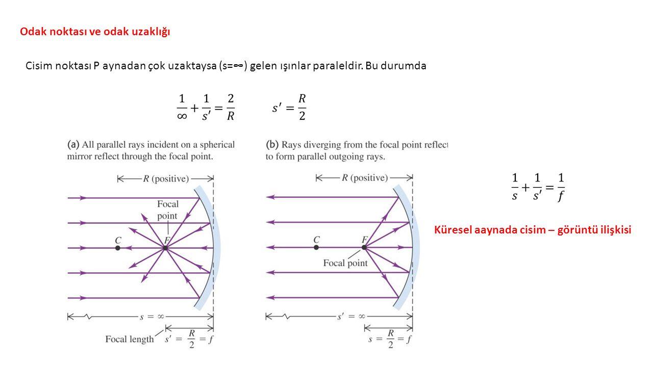 Odak noktası ve odak uzaklığı Cisim noktası P aynadan çok uzaktaysa (s=∞) gelen ışınlar paraleldir.