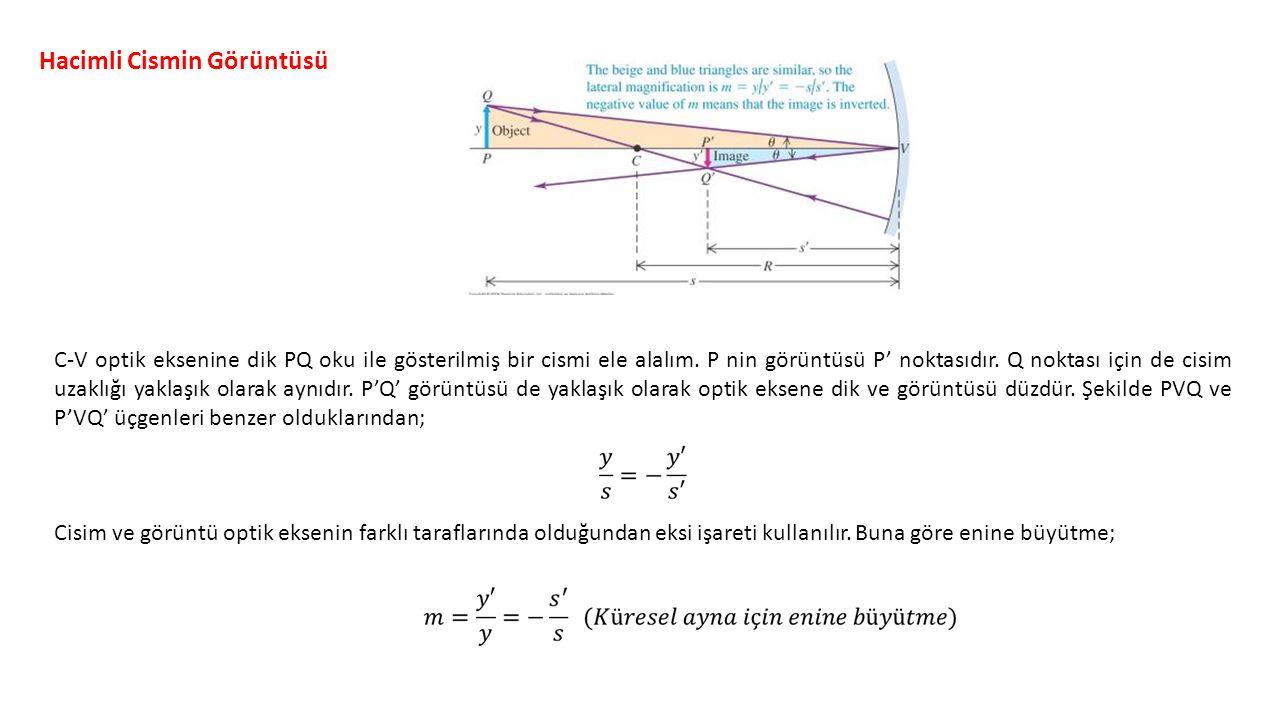 Hacimli Cismin Görüntüsü C-V optik eksenine dik PQ oku ile gösterilmiş bir cismi ele alalım.