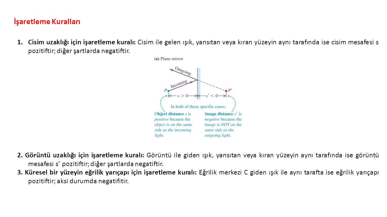 İşaretleme Kuralları 1.Cisim uzaklığı için işaretleme kuralı: Cisim ile gelen ışık, yansıtan veya kıran yüzeyin aynı tarafında ise cisim mesafesi s pozitiftir; diğer şartlarda negatiftir.