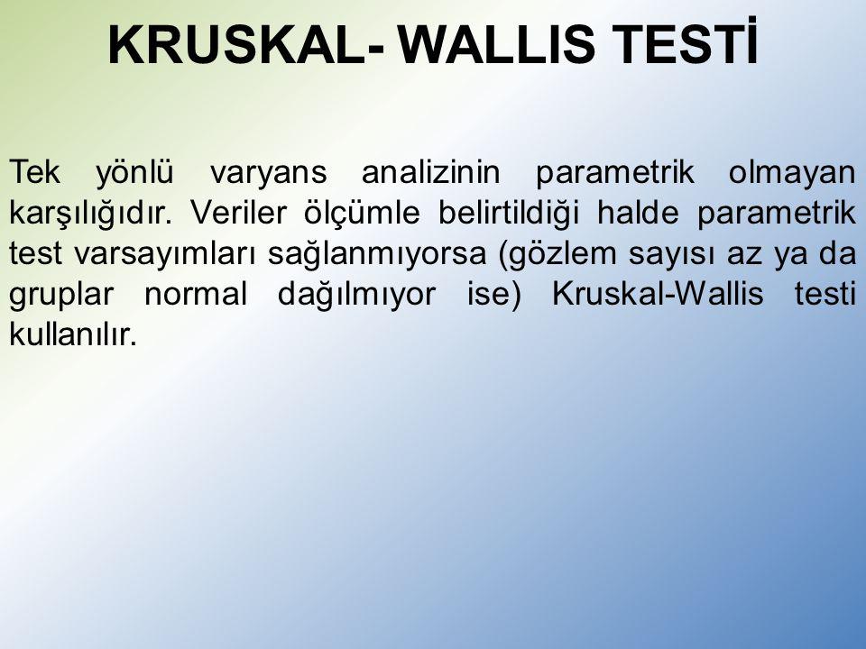 KRUSKAL- WALLIS TESTİ Tek yönlü varyans analizinin parametrik olmayan karşılığıdır.
