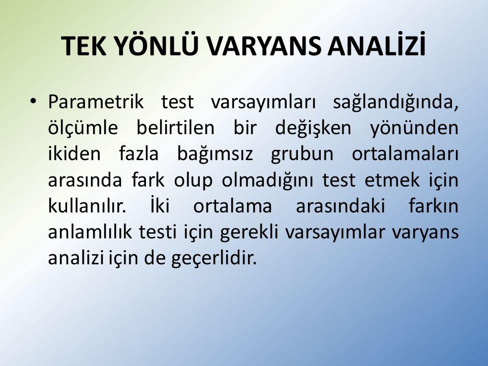 TEK YÖNLÜ VARYANS ANALİZİ Parametrik test varsayımları sağlandığında, ölçümle belirtilen bir değişken yönünden ikiden fazla bağımsız grubun ortalamaları arasında fark olup olmadığını test etmek için kullanılır.