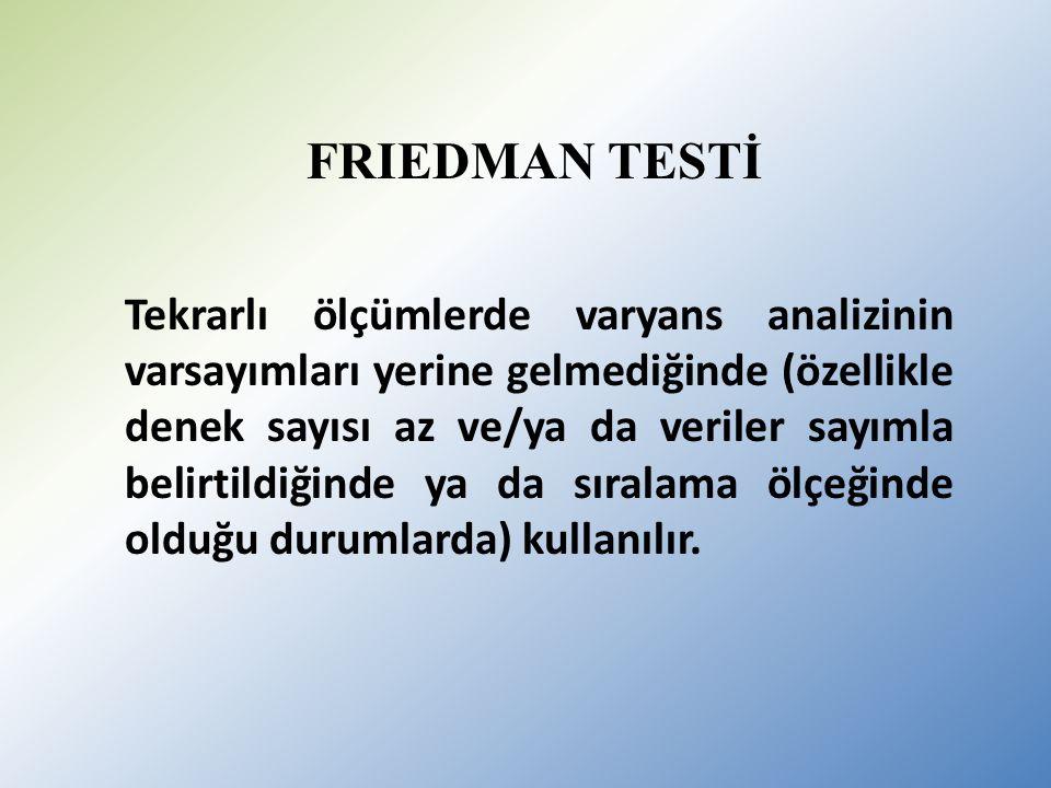 FRIEDMAN TESTİ Tekrarlı ölçümlerde varyans analizinin varsayımları yerine gelmediğinde (özellikle denek sayısı az ve/ya da veriler sayımla belirtildiğinde ya da sıralama ölçeğinde olduğu durumlarda) kullanılır.
