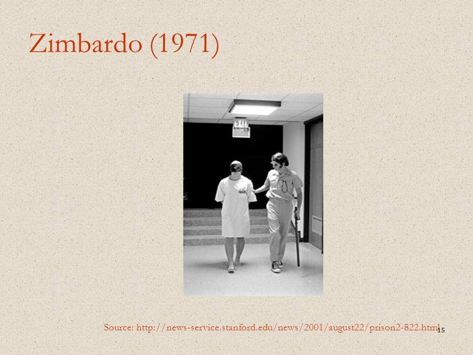 Zimbardo (1971) Source: http://news-service.stanford.edu/news/2001/august22/prison2-822.html 15