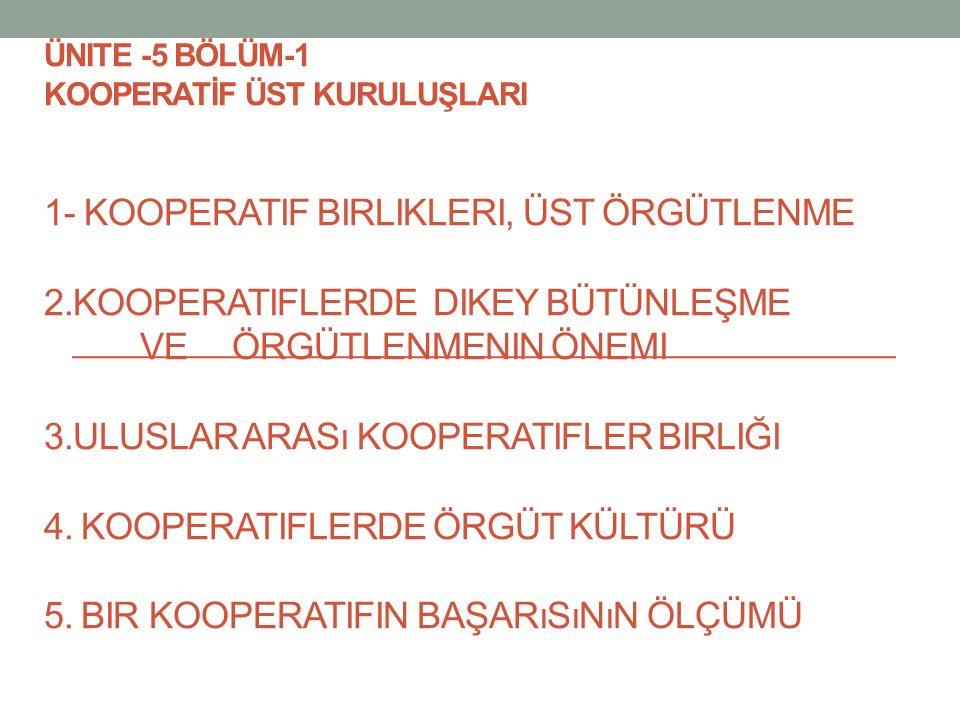 ÜNITE -5 BÖLÜM-1 KOOPERATİF ÜST KURULUŞLARI 1- KOOPERATIF BIRLIKLERI, ÜST ÖRGÜTLENME 2.KOOPERATIFLERDE DIKEY BÜTÜNLEŞME VE ÖRGÜTLENMENIN ÖNEMI 3.ULUSLAR ARASı KOOPERATIFLER BIRLIĞI 4.