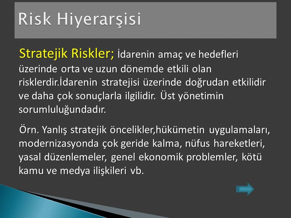 Stratejik Riskler; İdarenin amaç ve hedefleri üzerinde orta ve uzun dönemde etkili olan risklerdir.İdarenin stratejisi üzerinde doğrudan etkilidir ve daha çok sonuçlarla ilgilidir.