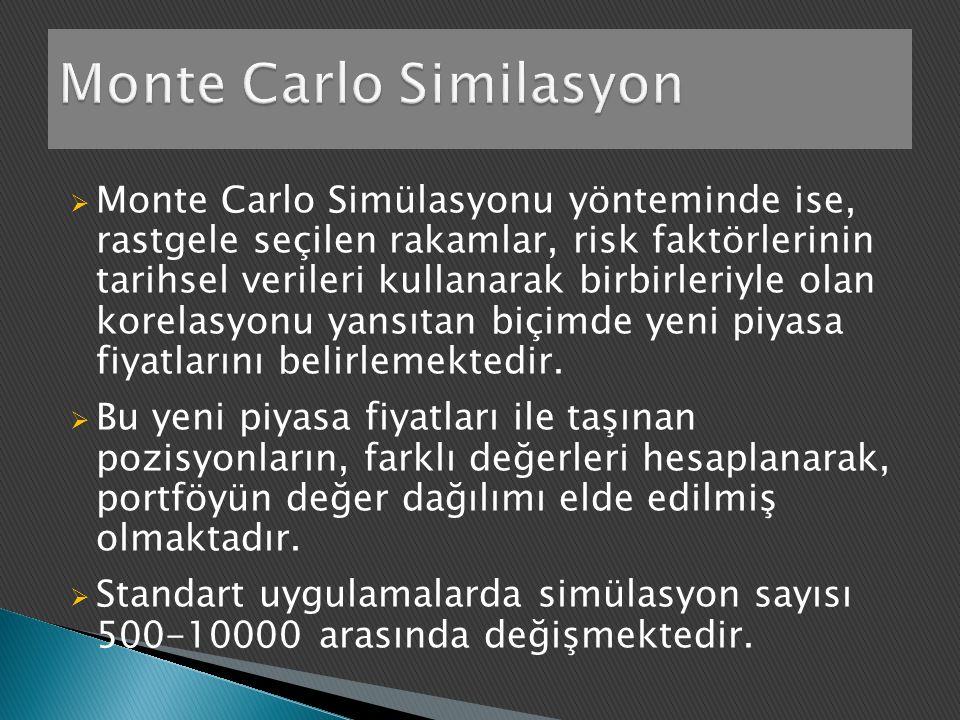  Monte Carlo Simülasyonu yönteminde ise, rastgele seçilen rakamlar, risk faktörlerinin tarihsel verileri kullanarak birbirleriyle olan korelasyonu yansıtan biçimde yeni piyasa fiyatlarını belirlemektedir.