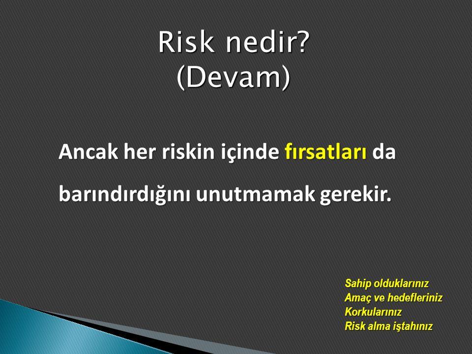 RİSK TEHLİKEBELİRSİZLİK FIRSAT Olaylardan kaynaklanan risk Değişimden kaynaklanan risk Riski lehe kullanabilme RİSK NEDEN YÖNETİLMELİDİR?
