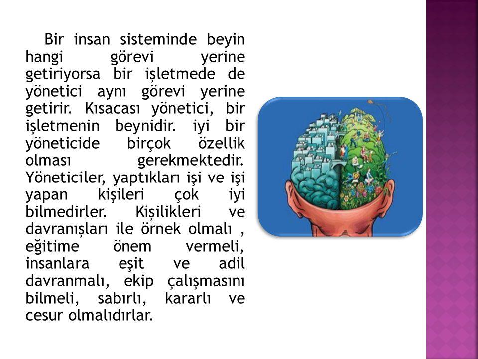 Bir insan sisteminde beyin hangi görevi yerine getiriyorsa bir işletmede de yönetici aynı görevi yerine getirir. Kısacası yönetici, bir işletmenin bey