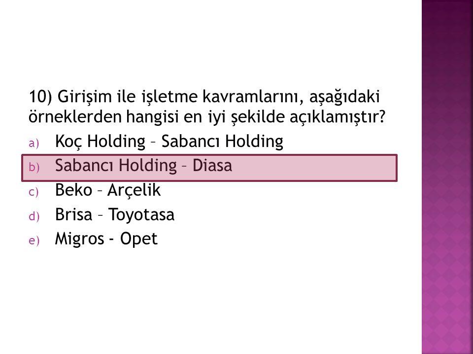 10) Girişim ile işletme kavramlarını, aşağıdaki örneklerden hangisi en iyi şekilde açıklamıştır? a) Koç Holding – Sabancı Holding b) Sabancı Holding –
