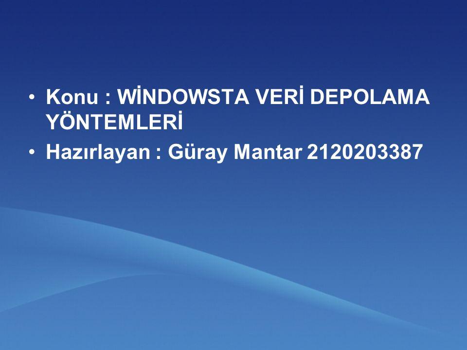 Konu : WİNDOWSTA VERİ DEPOLAMA YÖNTEMLERİ Hazırlayan : Güray Mantar 2120203387