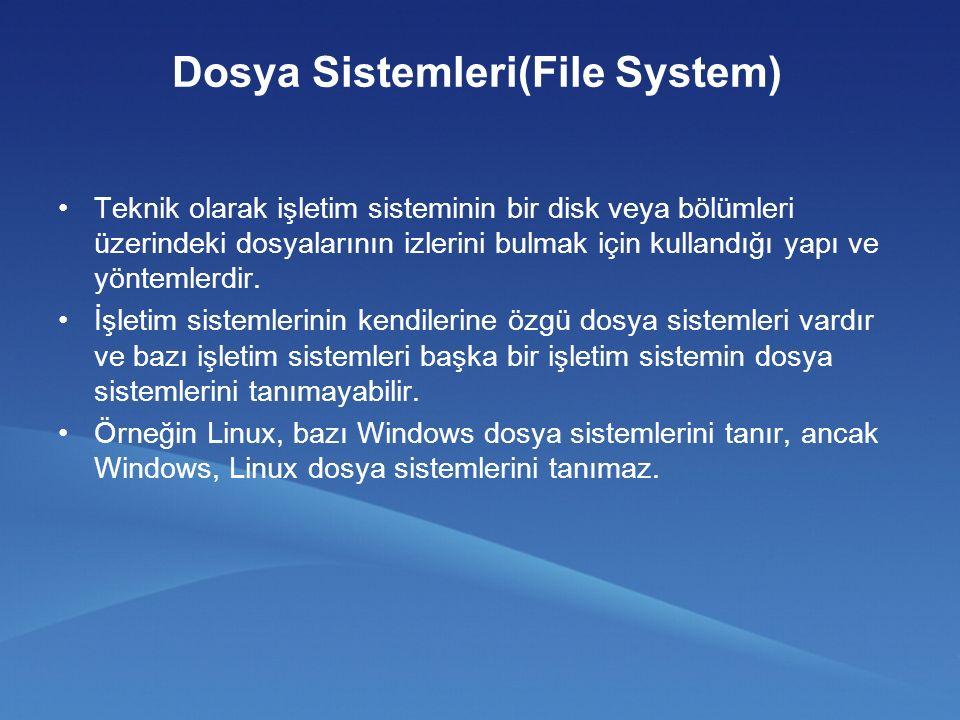 Dosya Sistemleri(File System) Teknik olarak işletim sisteminin bir disk veya bölümleri üzerindeki dosyalarının izlerini bulmak için kullandığı yapı ve yöntemlerdir.