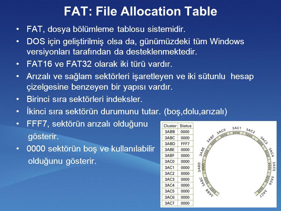 FAT: File Allocation Table FAT, dosya bölümleme tablosu sistemidir.