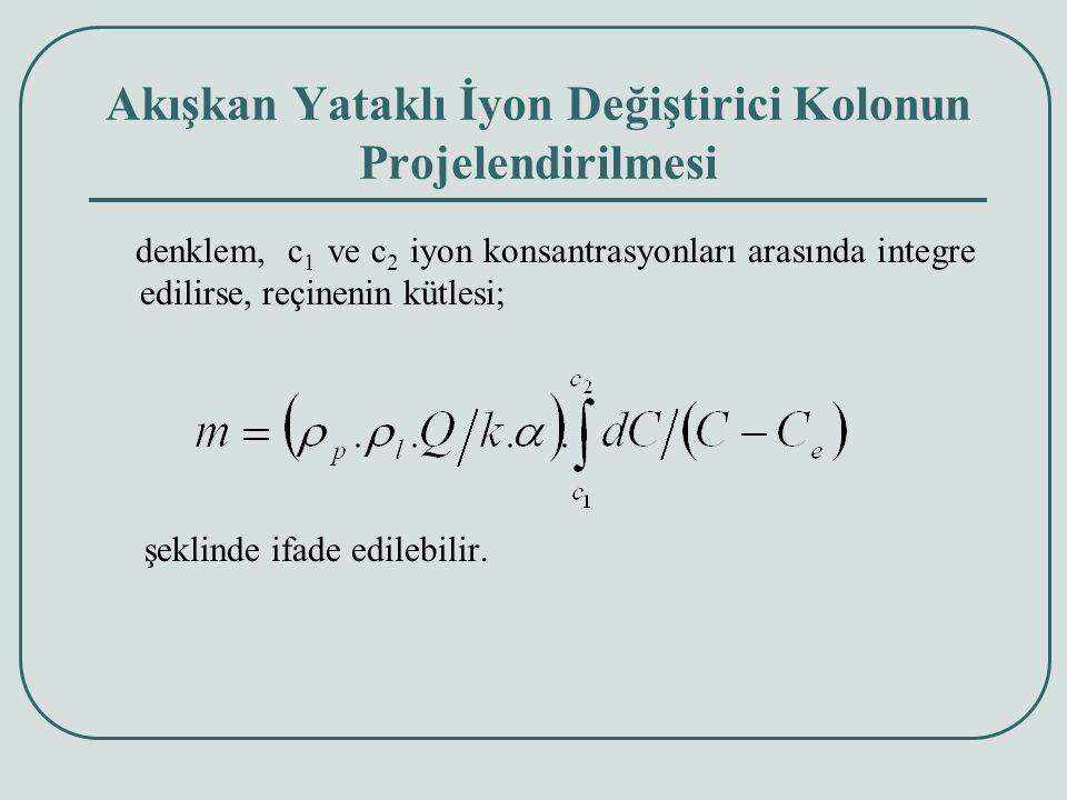 Akışkan Yataklı İyon Değiştirici Kolonun Projelendirilmesi denklem, c 1 ve c 2 iyon konsantrasyonları arasında integre edilirse, reçinenin kütlesi; şeklinde ifade edilebilir.