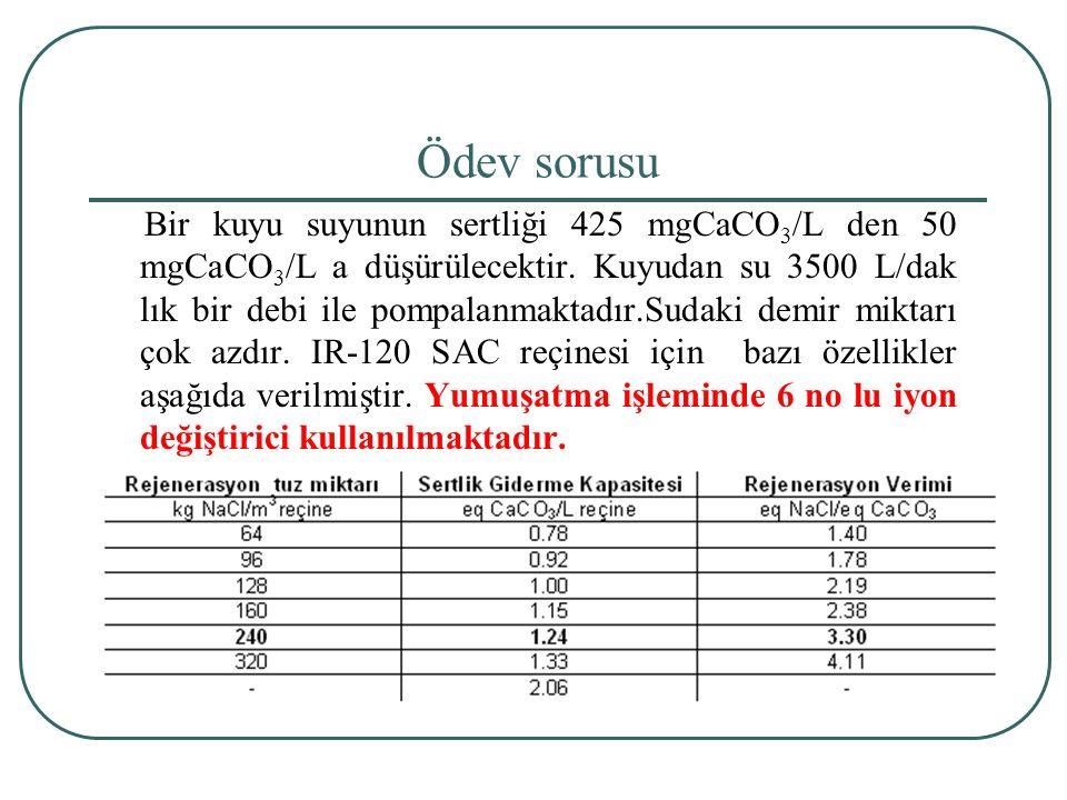 Ödev sorusu Bir kuyu suyunun sertliği 425 mgCaCO 3 /L den 50 mgCaCO 3 /L a düşürülecektir.