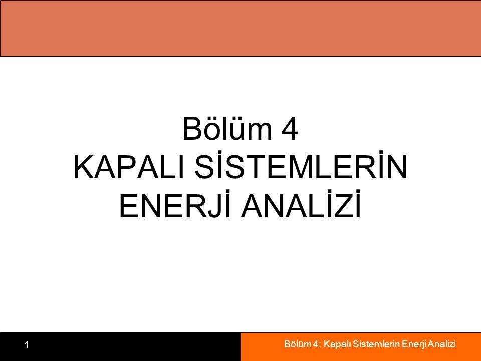 Bölüm 4: Kapalı Sistemlerin Enerji Analizi 1 Bölüm 4 KAPALI SİSTEMLERİN ENERJİ ANALİZİ