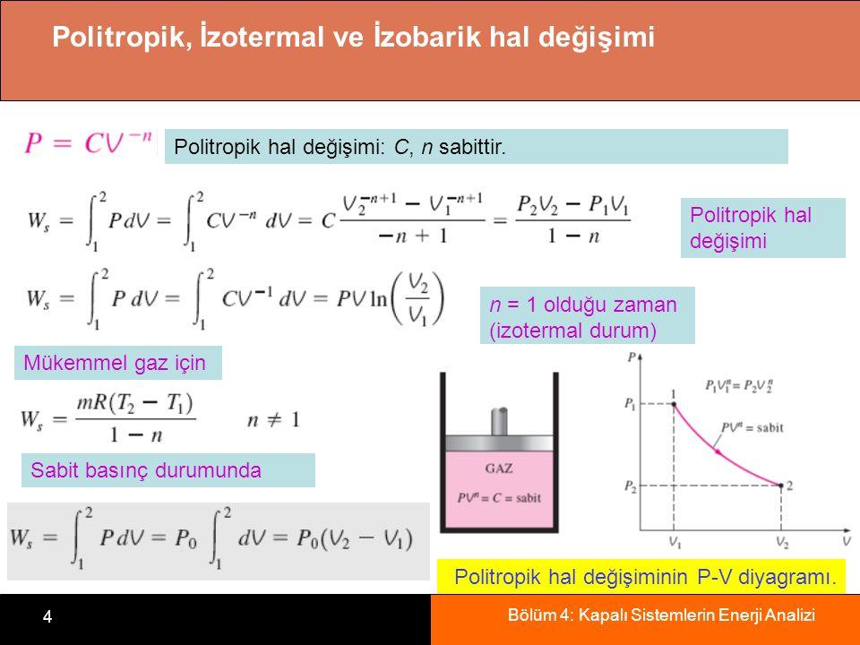Bölüm 4: Kapalı Sistemlerin Enerji Analizi 4 Politropik, İzotermal ve İzobarik hal değişimi Politropik hal değişimi: C, n sabittir. Politropik hal değ