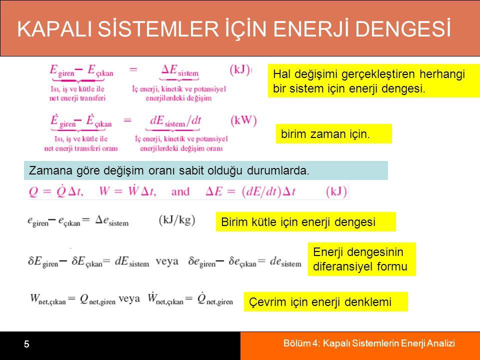 Bölüm 4: Kapalı Sistemlerin Enerji Analizi 6 sistem sınırlarından net ısı geçişini, değişik biçimleri kapsayan net işi, sistemdeki toplam enerji değişimini, Kapalı Sistemler İçin Termodinamiğin 1.