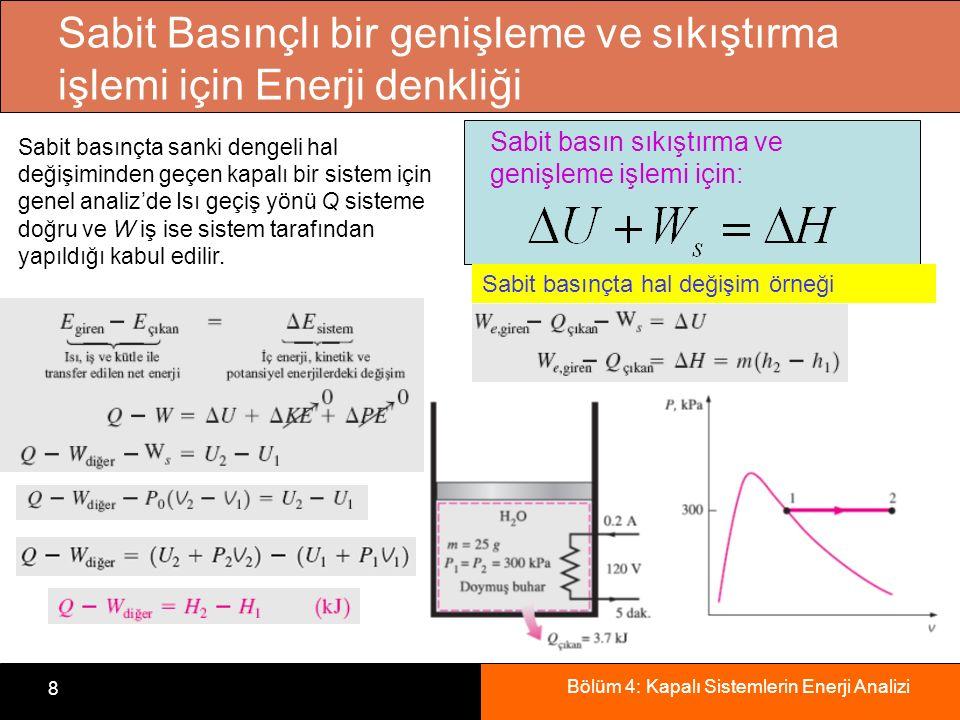 Bölüm 4: Kapalı Sistemlerin Enerji Analizi 8 Sabit Basınçlı bir genişleme ve sıkıştırma işlemi için Enerji denkliği Sabit basın sıkıştırma ve genişlem