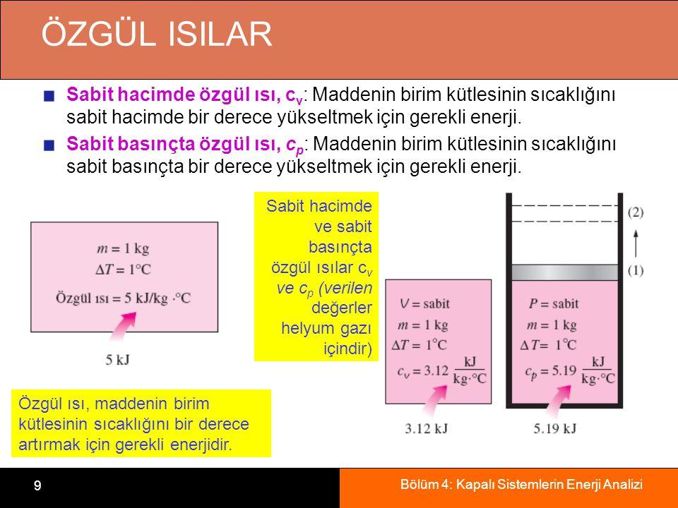 Bölüm 4: Kapalı Sistemlerin Enerji Analizi 10 c v ve c p 'nin özellikleri cv nin iç enerji değişimleriyle, cp nin ise entalpi değişimleriyle ilişkisi vardır.