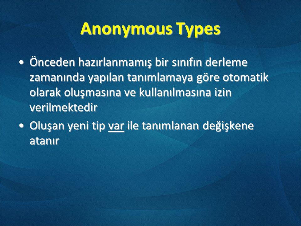 Anonymous Types Önceden hazırlanmamış bir sınıfın derleme zamanında yapılan tanımlamaya göre otomatik olarak oluşmasına ve kullanılmasına izin verilmektedirÖnceden hazırlanmamış bir sınıfın derleme zamanında yapılan tanımlamaya göre otomatik olarak oluşmasına ve kullanılmasına izin verilmektedir Oluşan yeni tip var ile tanımlanan değişkene atanırOluşan yeni tip var ile tanımlanan değişkene atanır