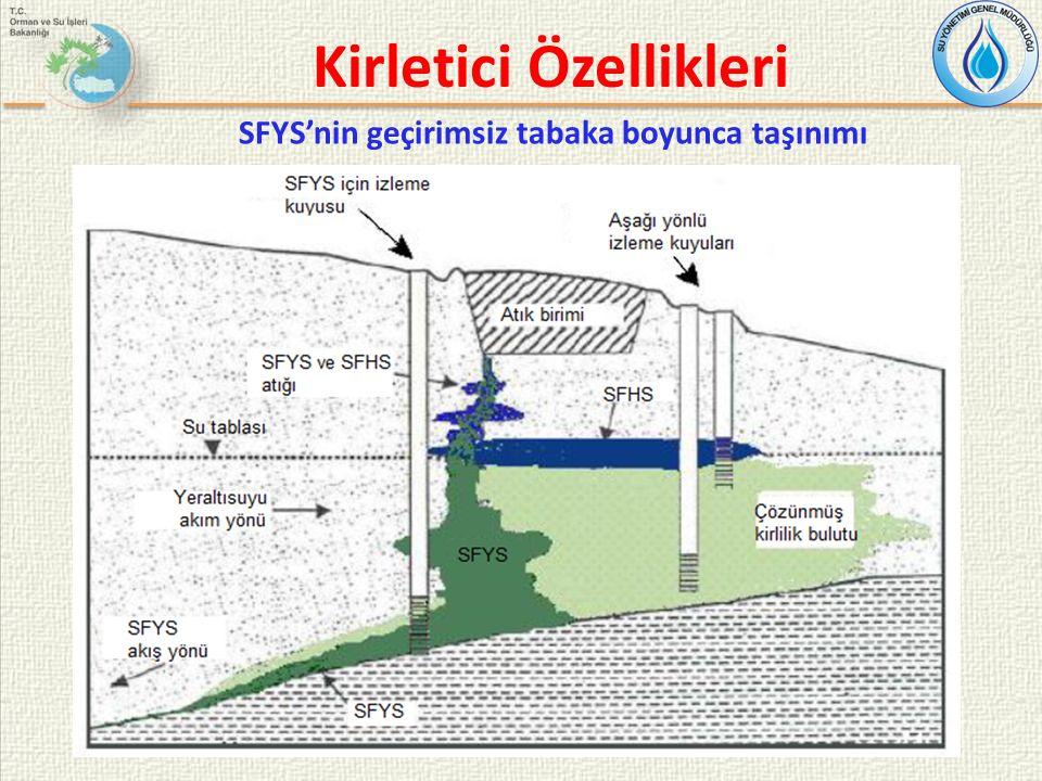 SFYS'nin geçirimsiz tabaka boyunca taşınımı Kirletici Özellikleri