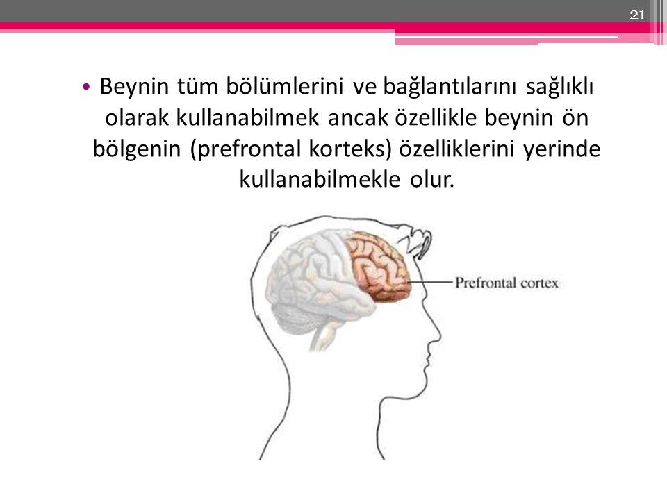 Beynin tüm bölümlerini ve bağlantılarını sağlıklı olarak kullanabilmek ancak özellikle beynin ön bölgenin (prefrontal korteks) özelliklerini yerinde kullanabilmekle olur.