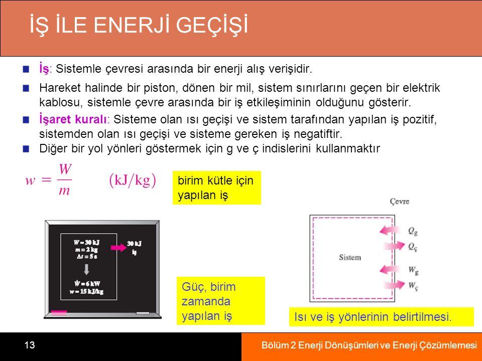 Bölüm 2 Enerji Dönüşümleri ve Enerji Çözümlemesi13 İŞ İLE ENERJİ GEÇİŞİ İş: Sistemle çevresi arasında bir enerji alış verişidir.