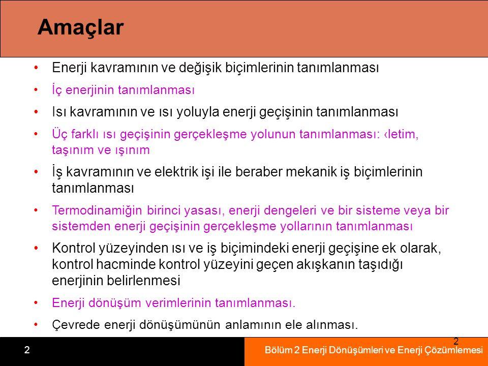 Bölüm 2 Enerji Dönüşümleri ve Enerji Çözümlemesi2 2 Amaçlar Enerji kavramının ve değişik biçimlerinin tanımlanması İç enerjinin tanımlanması Isı kavra
