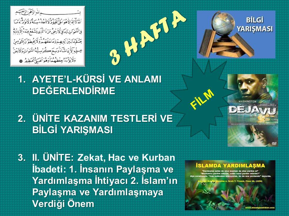3 HAFTA FİLM 1.AYETE'L-KÜRSİ VE ANLAMI DEĞERLENDİRME 2.ÜNİTE KAZANIM TESTLERİ VE BİLGİ YARIŞMASI 3.II.