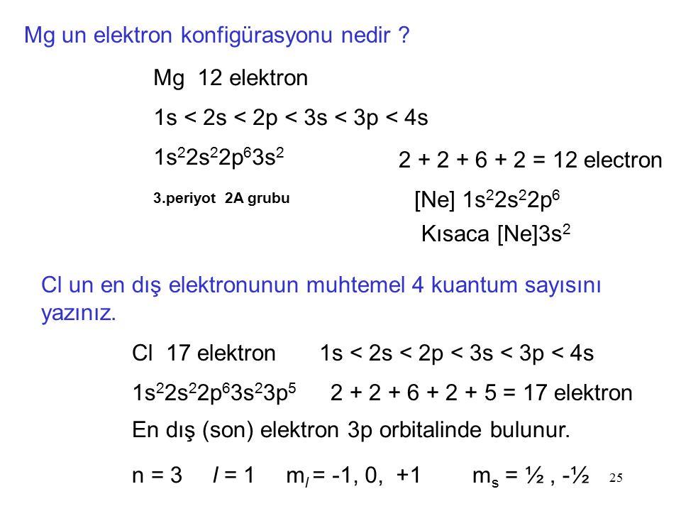 25 Mg un elektron konfigürasyonu nedir ? Mg 12 elektron 1s < 2s < 2p < 3s < 3p < 4s 1s 2 2s 2 2p 6 3s 2 3.periyot 2A grubu 2 + 2 + 6 + 2 = 12 electron