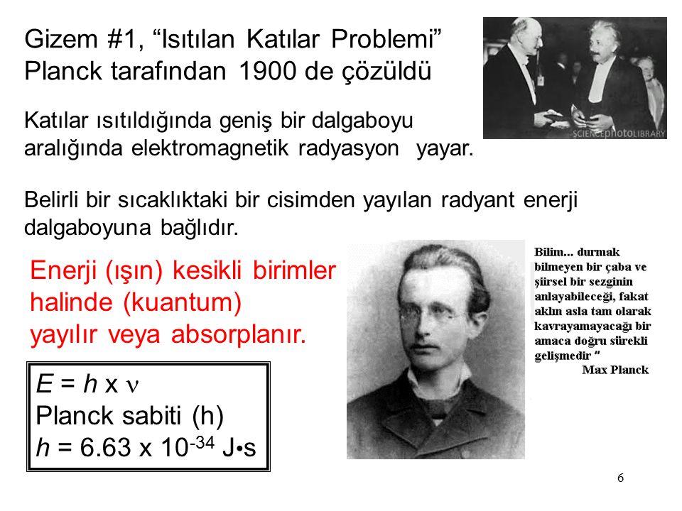 """6 Gizem #1, """"Isıtılan Katılar Problemi"""" Planck tarafından 1900 de çözüldü Enerji (ışın) kesikli birimler halinde (kuantum) yayılır veya absorplanır. E"""
