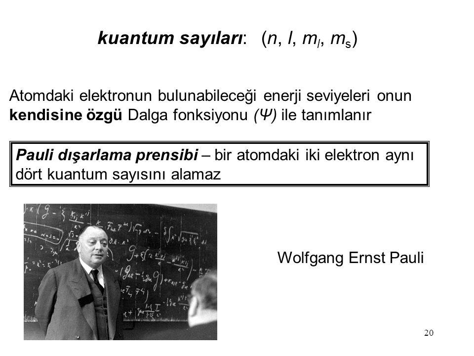 20 Atomdaki elektronun bulunabileceği enerji seviyeleri onun kendisine özgü Dalga fonksiyonu (Ψ) ile tanımlanır Pauli dışarlama prensibi – bir atomdaki iki elektron aynı dört kuantum sayısını alamaz kuantum sayıları: (n, l, m l, m s ) Wolfgang Ernst Pauli