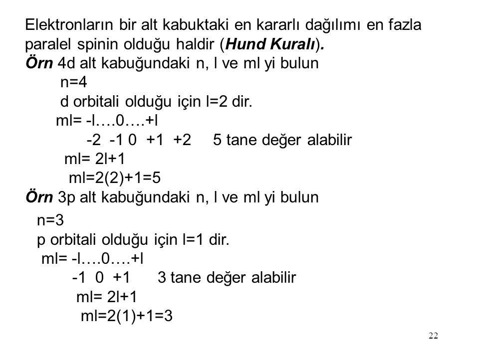 22 Elektronların bir alt kabuktaki en kararlı dağılımı en fazla paralel spinin olduğu haldir (Hund Kuralı).
