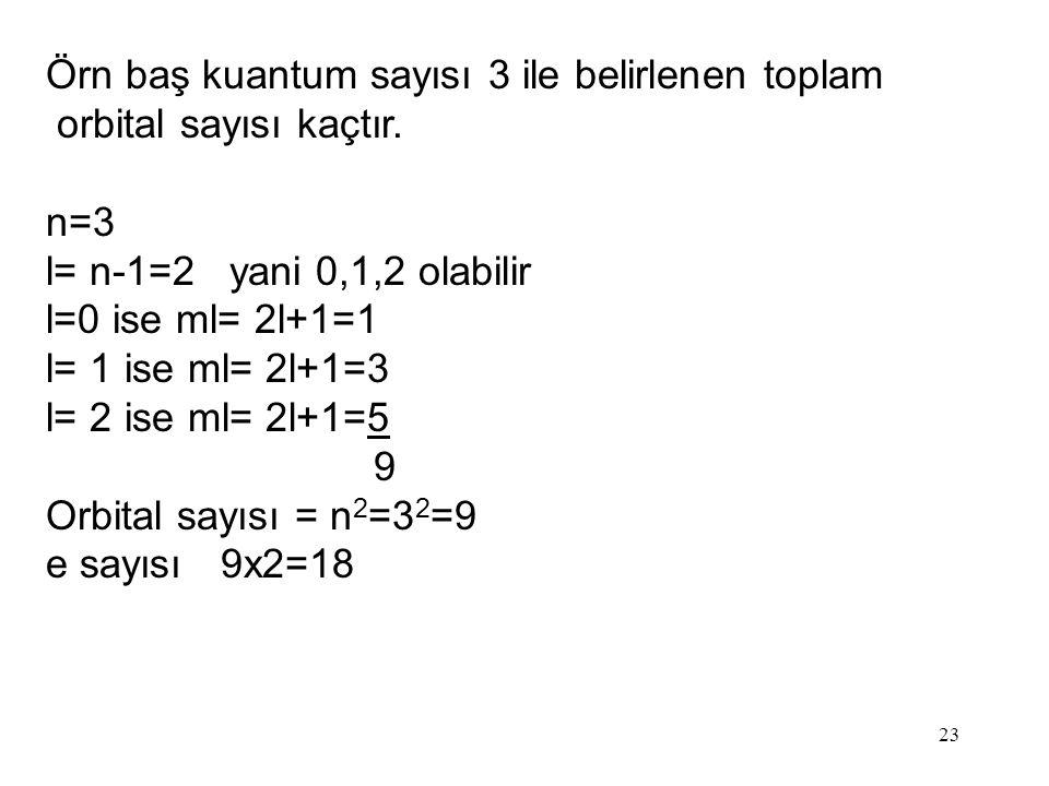 23 Örn baş kuantum sayısı 3 ile belirlenen toplam orbital sayısı kaçtır.