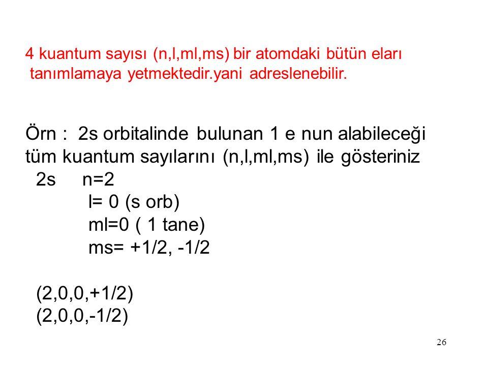 26 4 kuantum sayısı (n,l,ml,ms) bir atomdaki bütün eları tanımlamaya yetmektedir.yani adreslenebilir.