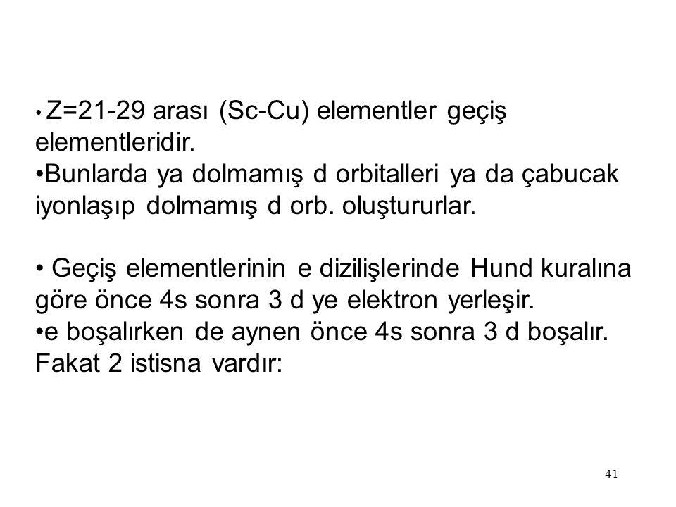 41 Z=21-29 arası (Sc-Cu) elementler geçiş elementleridir.