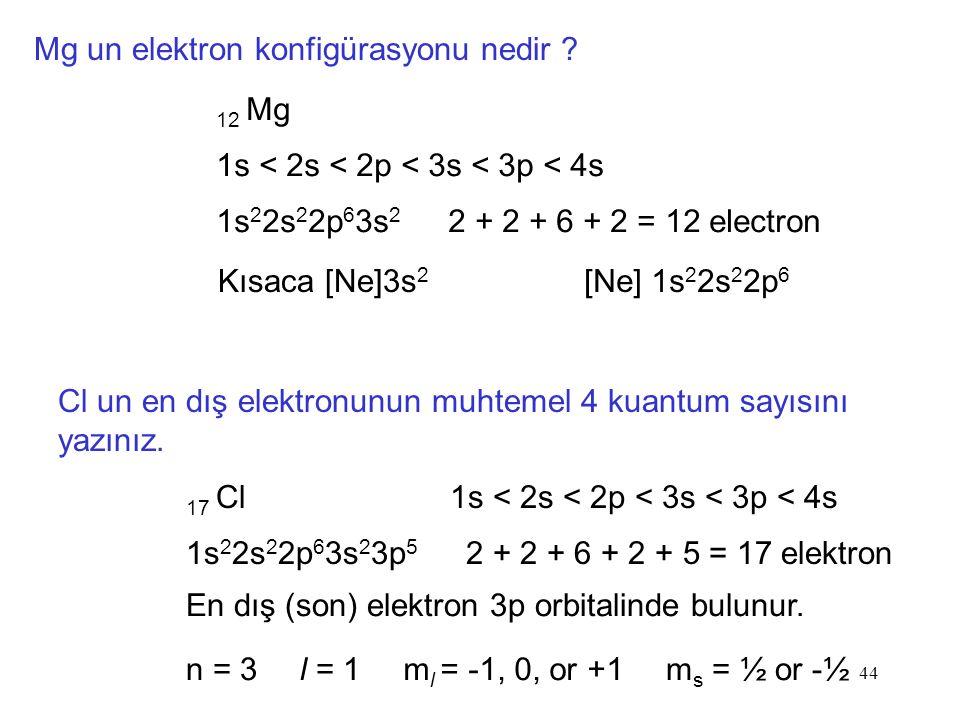 44 Mg un elektron konfigürasyonu nedir .