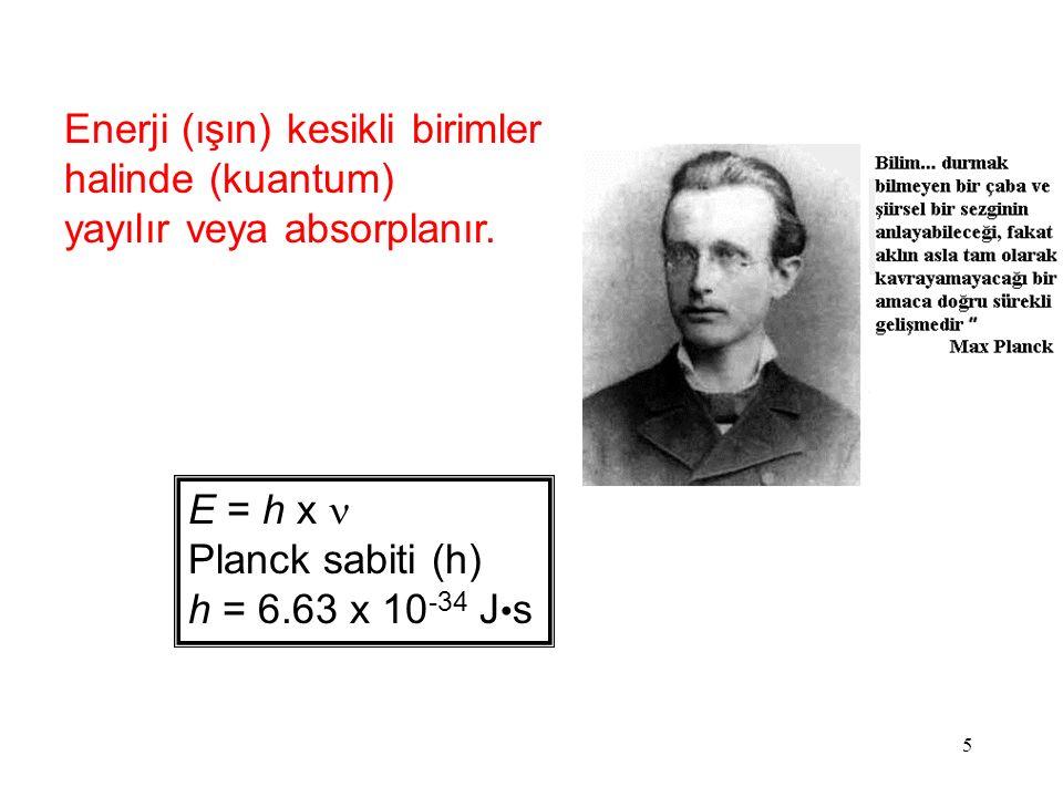 5 Enerji (ışın) kesikli birimler halinde (kuantum) yayılır veya absorplanır.