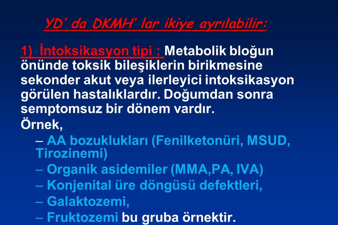 YD' da DKMH' lar ikiye ayrılabilir: 1) İntoksikasyon tipi : Metabolik bloğun önünde toksik bileşiklerin birikmesine sekonder akut veya ilerleyici intoksikasyon görülen hastalıklardır.