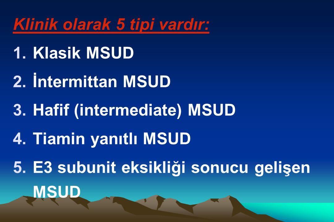 Klinik olarak 5 tipi vardır: 1.Klasik MSUD 2.İntermittan MSUD 3.Hafif (intermediate) MSUD 4.Tiamin yanıtlı MSUD 5.E3 subunit eksikliği sonucu gelişen MSUD