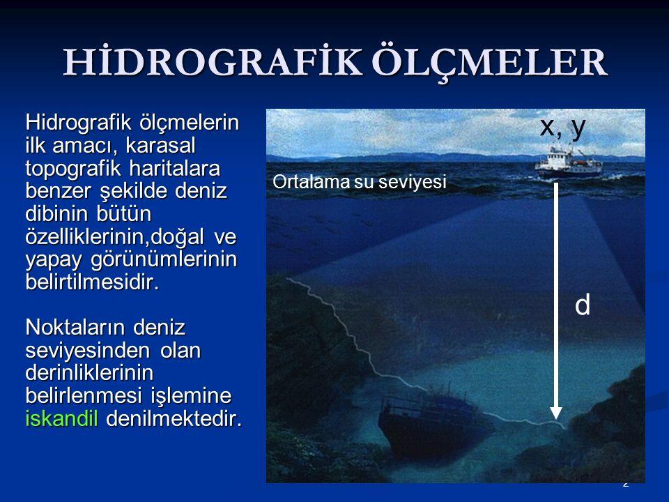 2 HİDROGRAFİK ÖLÇMELER Hidrografik ölçmelerin ilk amacı, karasal topografik haritalara benzer şekilde deniz dibinin bütün özelliklerinin,doğal ve yapay görünümlerinin belirtilmesidir.