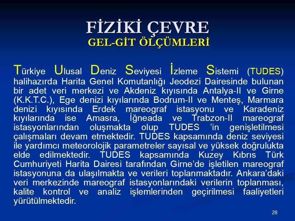 28 FİZİKİ ÇEVRE GEL-GİT ÖLÇÜMLERİ T ürkiye U lusal D eniz S eviyesi İ zleme S istemi (TUDES) halihazırda Harita Genel Komutanlığı Jeodezi Dairesinde bulunan bir adet veri merkezi ve Akdeniz kıyısında Antalya-II ve Girne (K.K.T.C.), Ege denizi kıyılarında Bodrum-II ve Menteş, Marmara denizi kıyısında Erdek mareograf istasyonu ve Karadeniz kıyılarında ise Amasra, İğneada ve Trabzon-II mareograf istasyonlarından oluşmakta olup TUDES 'in genişletilmesi çalışmaları devam etmektedir.