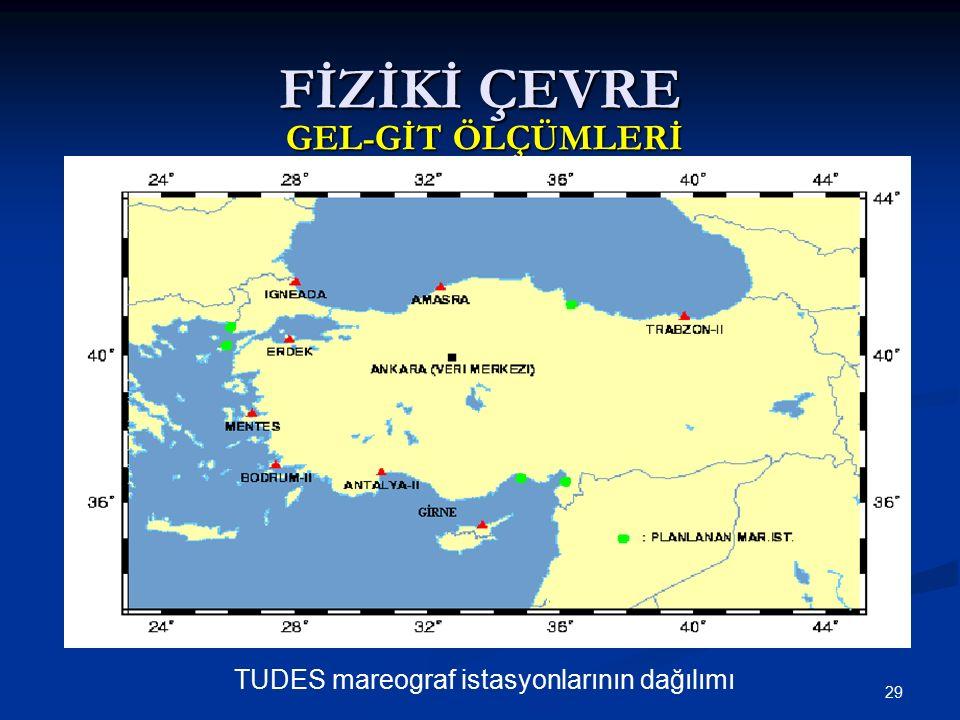 29 FİZİKİ ÇEVRE GEL-GİT ÖLÇÜMLERİ TUDES mareograf istasyonlarının dağılımı