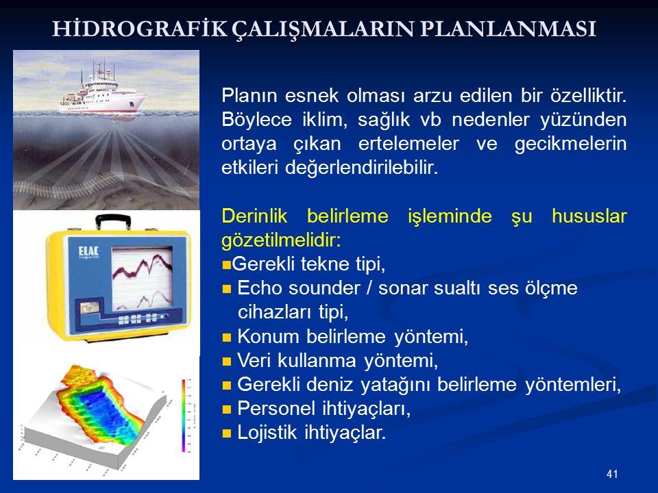 41 HİDROGRAFİK ÇALIŞMALARIN PLANLANMASI Planın esnek olması arzu edilen bir özelliktir.