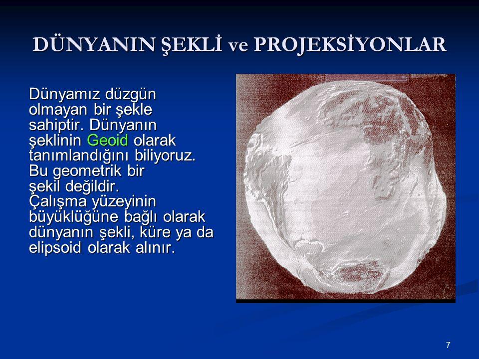 8 Deviation of the vertical Deviation of the vertical Elipsoid Normali Çekül Doğrultusu, Geoide Diktir.