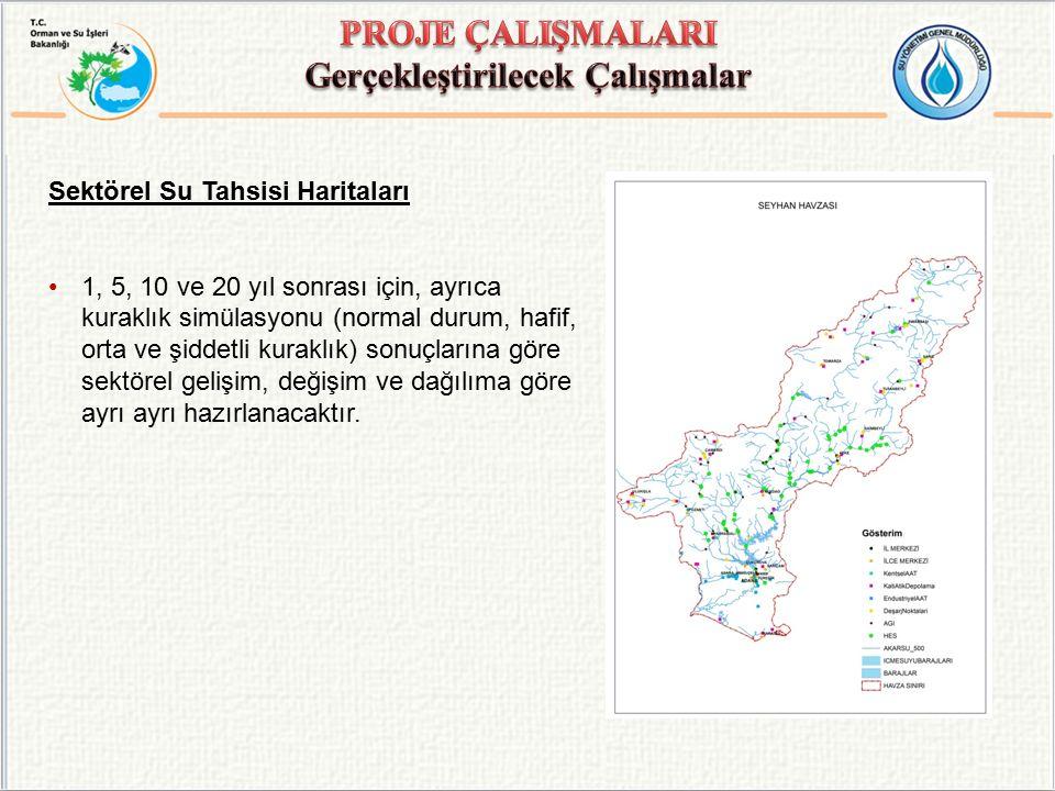 Sektörel Su Tahsisi Haritaları 1, 5, 10 ve 20 yıl sonrası için, ayrıca kuraklık simülasyonu (normal durum, hafif, orta ve şiddetli kuraklık) sonuçları