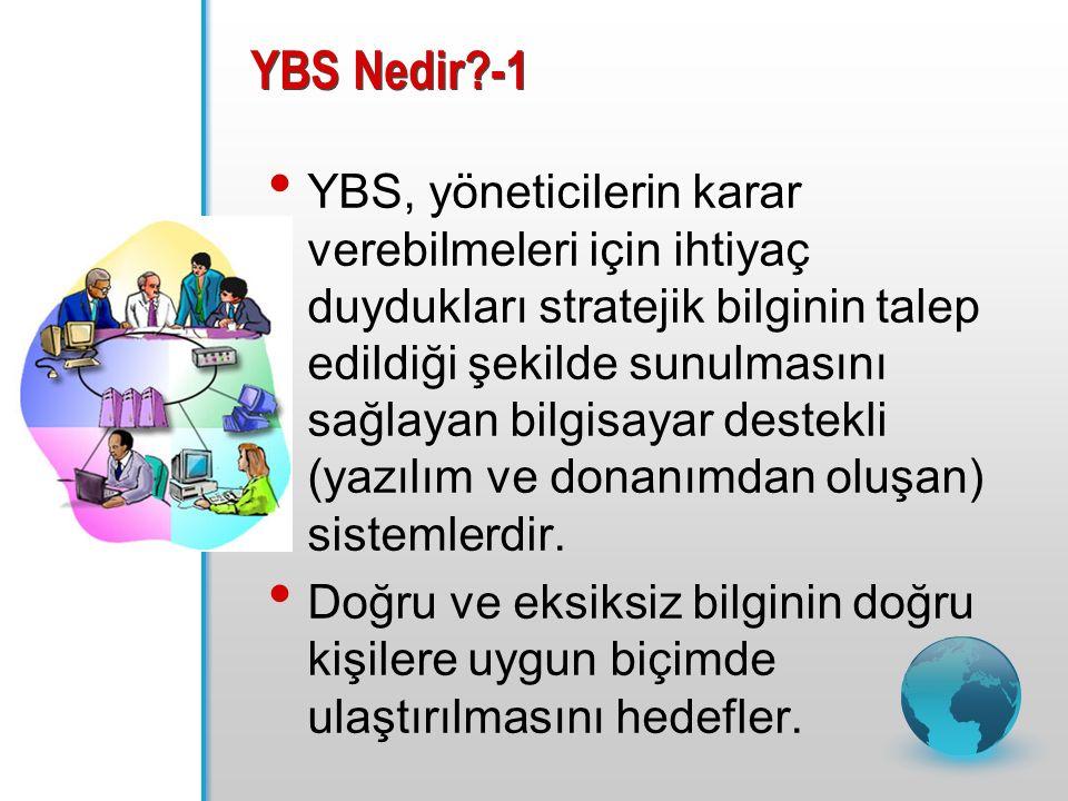 YBS Nedir -1 YBS, yöneticilerin karar verebilmeleri için ihtiyaç duydukları stratejik bilginin talep edildiği şekilde sunulmasını sağlayan bilgisayar destekli (yazılım ve donanımdan oluşan) sistemlerdir.