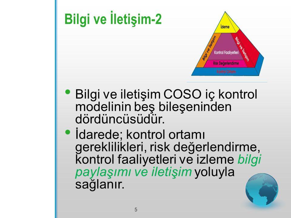 Bilgi ve İletişim-2 5 Bilgi ve iletişim COSO iç kontrol modelinin beş bileşeninden dördüncüsüdür.